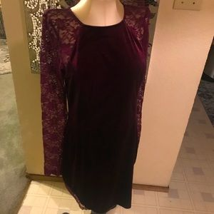 Gorgeous Boutique purple velvet lace dress XL